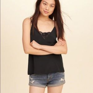 Black Silky Lace Detailed Tank